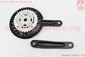 """Шатуны """"квадрат"""" 175мм, 42.32.22T MTB, алюминиевые, черные TC-CQ18 для велосипеда"""
