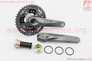 Шатуны Hollowtech II 170мм, 40.30.22T МТВ, интегрированная ось 24мм, алюминиевые, серые ALIVIO FC-M4050 для велосипеда