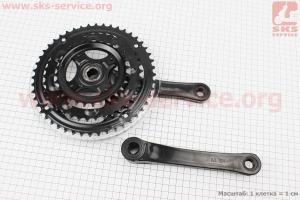 """Шатун (крепление """"квадрат"""") 170мм, 48.38.28T к-кт МТВ, черные GS-P323 для велосипеда"""
