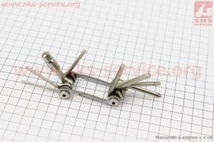 Ключ-набор 9предметов (шестигранники 2,2.5,3,4,5,6,8мм, отвёртка фигурная, Т25 ключ-звездочка), YC-286N для велосипеда