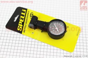 Манометром пластмассовый 260 psi/18 bar, под штуцера Schrader&Presta, SPM-02 для велосипеда