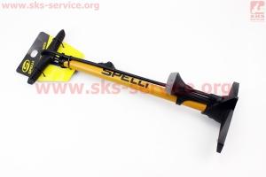 Насос ручной напольный с манометром 160 psi, под штуцера Schrader&Presta, желтый SPM-155P для велосипеда