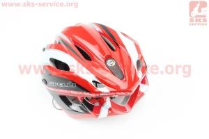 Шлем велосипедный M (55-61 см) съемный козырек, 16 вент. отверстия, системы регулировки по размеру Divider и Run System SRS, красно-белый SBH-5500