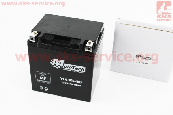 Аккумулятор 30Аh YIX30L-BS гелевый (L165*W125*H175 mm), 2018 для мотоблока с двигателем 178F-186F