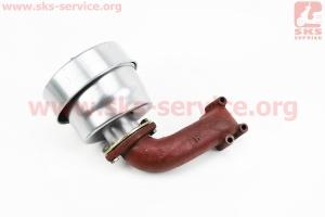 Фильтр воздушный в сборе R195NM Тип №6, с коленом, металлический корпус на двигатель дизельный R190N(NM)/R195N(NM)