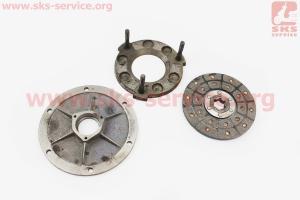 Сцепление - Диск фрикционный, прижимной, крышка торцевая к-кт 3шт на мотоблок с двигателем R175N(NM)/R195N(NM)