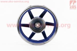 Диск колесный ЛИТОЙ задний + передний (диск. торм.) Honda DIO, синий для японских скутеров
