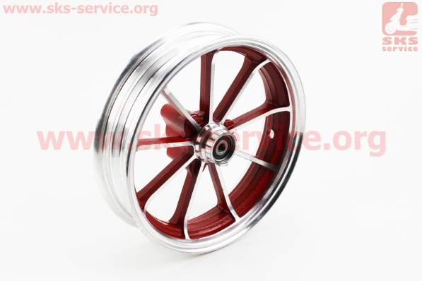 Диск колесный ЛИТОЙ задний + передний (диск. торм.) Yamaha JOG, красный для японских скутеров
