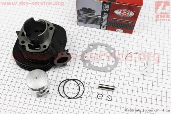 Цилиндр к-кт (цпг) 65сс-43мм красная коробка (палец 10мм) на двигатель TB50,65сс 2-T цепной вариатор (скутер)