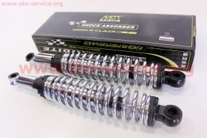 Амортизатор задний JH/CB/CG - 340мм*d59мм (под втулки) регулир., хром к-кт 2шт для мопедов Delta (Viper)