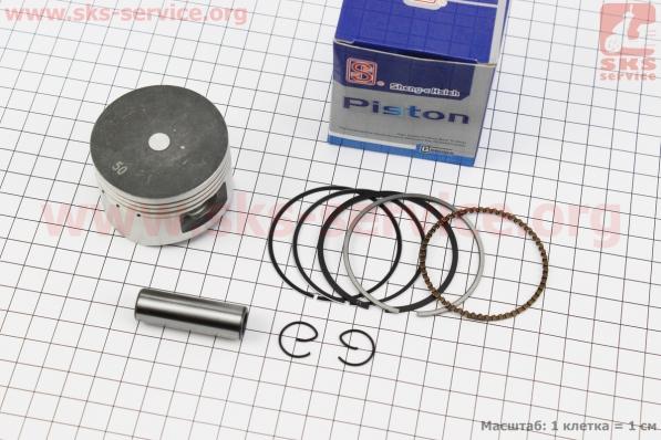 Поршень, палец, кольца к-кт 110сс 52,4мм +0,50 синяя коробка (палец 13мм) для мопедов Delta (Viper)
