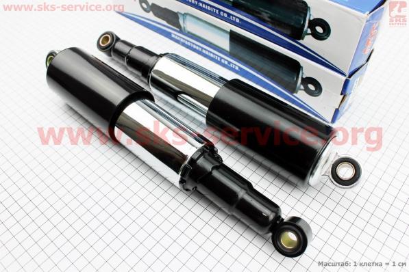 Амортизатор задний 320мм*d60мм (втулка 12мм / втулка 12мм) закрытый регулир., черный к-кт 2шт на мотоцикл ЯВА