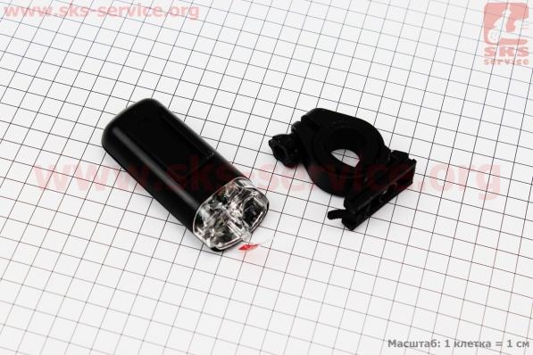 Фонарь передний 2 диодa, черный JY-7021 (без батареек) для велосипеда