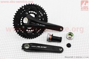 Шатуны Hollowtech II 175мм, 48.36.26T МТВ, интегрированная ось 24мм, алюминиевые, черные ALIVIO FC-M4060 для велосипеда