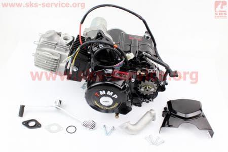 Двигатель для квадроцикла (мопедный) в сборе 110куб  - механика (3передачи + 1 задняя)