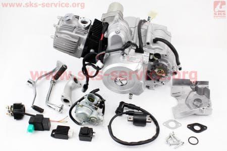 Двигатель мопедный в сборе 110куб (Active) - автомат + карбюратор, коммутатор, катушка зажигания, реле: поворотов, стартера, напряжения