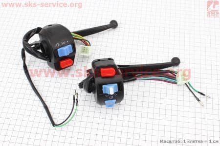 Блок кнопок на руле левый + правый к-кт с рычагами для скутеров Wind (Viper) купить в Украине